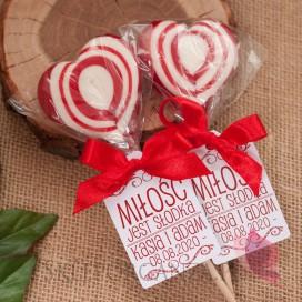 Lizaki weselne personalizowane Lizak serce czerwone – personalizacja