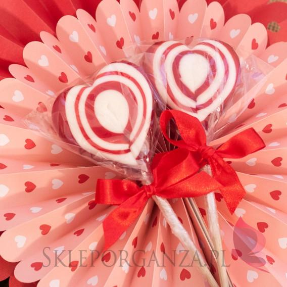 Kręcone lizaki na wesele Lizak serce czerwone