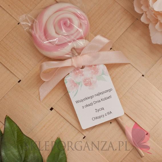 Lizaki na Dzień Kobiet, Dzień Matki Lizak okrągły różowy – personalizacja Dzień Kobiet