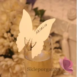 Winietki i numery stolików do wypisania Winietka na kieliszek motyl kremowy