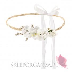 Kolekcja Team Bride Boho Wianek rustykalny białe kwiatki, 18cm