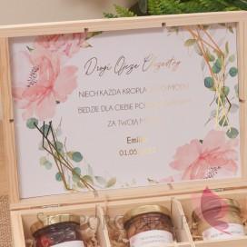 Kolekcja Geometryczna gold róż kwiaty na Komunię Zestaw miodów średni - personalizacja kolekcja GEOMETRYCZNA GOLD RÓŻ KWIATY