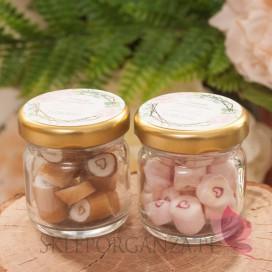 Podziękowanie dla gości – karmelki – personalizacja kolekcja GEOMETRYCZNA GOLD RÓŻ KWIATY