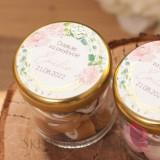 Kolekcja Geometryczna gold róż kwiaty na Komunię Podziękowanie dla gości – karmelki – personalizacja kolekcja GEOMETRYCZNA GO...