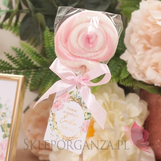 Kolekcja Geometryczna gold róż kwiaty na Komunię Lizak okrągły różowy z bilecikiem - personalizacja kolekcja GEOMETRYCZNA GOL...