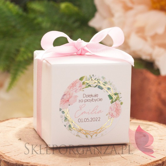 Kolekcja Geometryczna gold róż kwiaty na Komunię Pudełko kostka biała – personalizacja kolekcja GEOMETRYCZNA GOLD RÓŻ KWIATY
