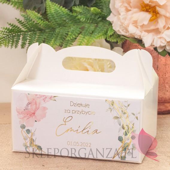 Kolekcja Geometryczna gold róż kwiaty na Komunię Pudełko na ciasto białe – personalizacja kolekcja GEOMETRYCZNA GOLD RÓŻ KWIATY