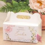 Pudełko na ciasto białe – personalizacja kolekcja GEOMETRYCZNA GOLD RÓŻ KWIATY