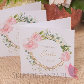 Kolekcja Geometryczna gold róż kwiaty na Chrzest Zaproszenie Chrzest - personalizacja kolekcja GEOMETRYCZNA GOLD RÓŻ KWIATY