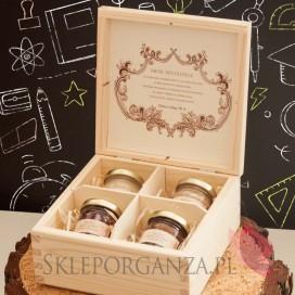 Zestaw miodów w szkatułce - midi - personalizacja Dzień Nauczyciela