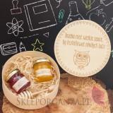 Prezenty dla Nauczycieli - Wysyłka 48h Drewniane pudełko z miodzikami GRAWER - małe - Dzień Nauczyciela