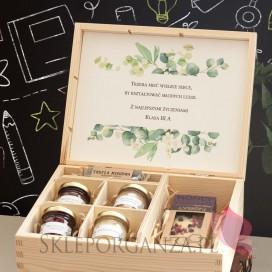 Zestawy z naturalnymi słodyczami dla Nauczycieli Zestaw upominkowy duży słodkości w szkatułce 1 - NATURA -personalizacja Dzie...