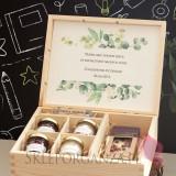 Zestaw upominkowy duży słodkości w szkatułce 1 - NATURA -personalizacja Dzień Nauczyciela