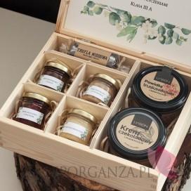 Zestawy z naturalnymi słodyczami dla Nauczycieli Zestaw upominkowy duży słodkości w szkatułce 2 - NATURA -personalizacja Dzie...