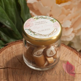 Podziękowanie dla gości – karmelki – personalizacja kolekcja ślubna GEOMETRYCZNA GOLD RÓŻ KWIATY