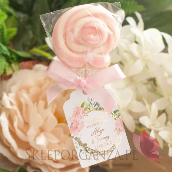 GEOMETRYCZNA GOLD RÓŻ KWIATY na ślub Lizak okrągły różowy z bilecikiem - personalizacja kolekcja ślubna GEOMETRYCZNA GOLD RÓŻ...