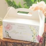 Pudełko na ciasto białe – personalizacja kolekcja ślubna GEOMETRYCZNA GOLD RÓŻ KWIATY