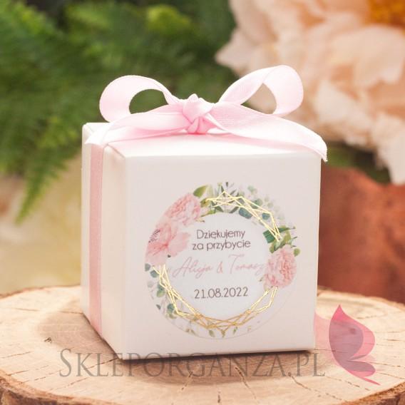 GEOMETRYCZNA GOLD RÓŻ KWIATY na ślub Pudełko kostka biała – personalizacja kolekcja ślubna GEOMETRYCZNA GOLD RÓŻ KWIATY
