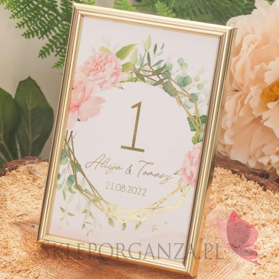 GEOMETRYCZNA GOLD RÓŻ KWIATY na ślub Numery stolików - personalizacja kolekcja ślubna GEOMETRYCZNA GOLD RÓŻ KWIATY