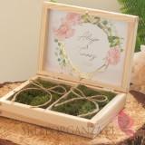 Drewniane pudełko na obrączki mech - personalizacja kolekcja ślubna GEOMETRYCZNA GOLD RÓŻ KWIATY
