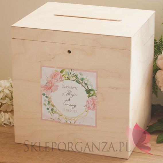 GEOMETRYCZNA GOLD RÓŻ KWIATY na ślub Drewniana skrzynka na koperty - personalizacja kolekcja ślubna GEOMETRYCZNA GOLD RÓŻ KWIATY