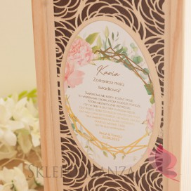 GEOMETRYCZNA GOLD RÓŻ KWIATY na ślub Prośba o świadkowanie - drewniana skrzynka na alkohol ROŻA - personalizacja kolekcja GEO...