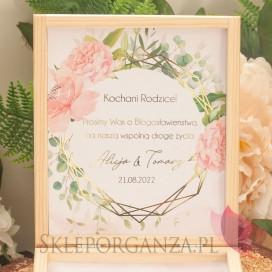 GEOMETRYCZNA GOLD RÓŻ KWIATY na ślub Prośba o błogosławieństwo - personalizacja kolekcja ślubna GEOMETRYCZNA GOLD RÓŻ KWIATY