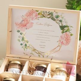 GEOMETRYCZNA GOLD RÓŻ KWIATY na ślub Zestaw miodów – średni – personalizacja kolekcja ślubna GEOMETRYCZNA GOLD RÓŻ KWIATY