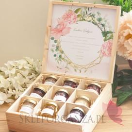Zestaw miodów duży – personalizacja kolekcja ślubna GEOMETRYCZNA GOLD RÓŻ KWIATY