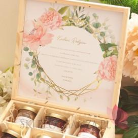 GEOMETRYCZNA GOLD RÓŻ KWIATY na ślub Zestaw miodów duży – personalizacja kolekcja ślubna GEOMETRYCZNA GOLD RÓŻ KWIATY