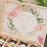 Zestawy prezentowe z miodami dla Rodziców Zestaw miodów ekskluzywny – personalizacja kolekcja ślubna GEOMETRYCZNA GOLD RÓŻ KW...