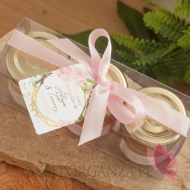 Zestaw upominkowy miód - personalizacja kolekcja ślubna GEOMETRYCZNA GOLD RÓŻ KWIATY