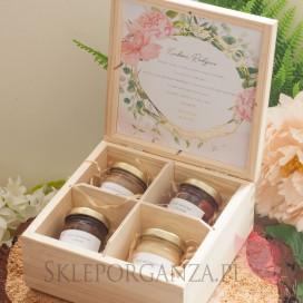 Zestaw miodów w szkatułce - midi - personalizacja kolekcja ślubna GEOMETRYCZNA GOLD RÓŻ KWIATY