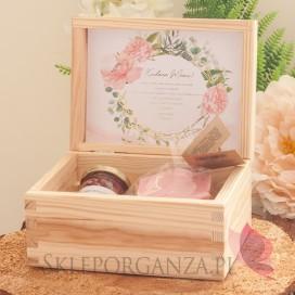 Zestaw upominkowy różany w szkatułce – NATURA - personalizacja kolekcja ślubna GEOMETRYCZNA GOLD RÓŻ KWIATY