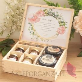 Zestaw upominkowy duży słodkości w szkatułce 2 - NATURA - personalizacja kolekcja ślubna GEOMETRYCZNA GOLD RÓŻ KWIATY