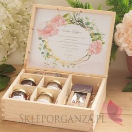 Zestaw upominkowy duży słodkości w szkatułce 1 - NATURA - personalizacja kolekcja ślubna GEOMETRYCZNA GOLD RÓŻ KWIATY