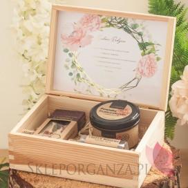 Zestaw upominkowy średni słodkości w szkatułce - NATURA - personalizacja kolekcja ślubna GEOMETRYCZNA GOLD RÓŻ KWIATY