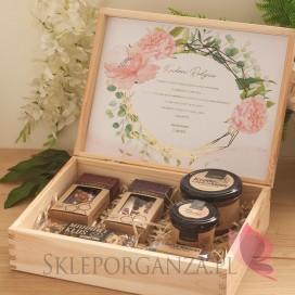Zestaw upominkowy ekskluzywny słodkości w szkatułce – NATURA - personalizacja kolekcja ślubna GEOMETRYCZNA GOLD RÓŻ KWIATY