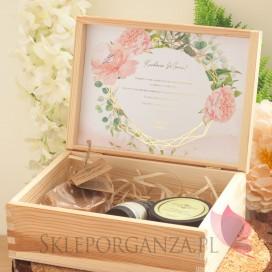 Zestaw upominkowy średni kosmetyki w szkatułce - NATURA - personalizacja kolekcja ślubna GEOMETRYCZNA GOLD RÓŻ KWIATY