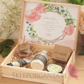 Zestaw upominkowy ekskluzywny kosmetyki w szkatułce - NATURA - personalizacja kolekcja ślubna GEOMETRYCZNA GOLD RÓŻ KWIATY