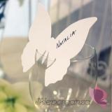 Winietka na kieliszek motyl biały