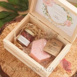 GEOMETRYCZNA GOLD RÓŻ KWIATY na ślub Prośba o świadkowanie 1 - zestaw upominkowy różany w szkatułce – NATURA - personalizacja...