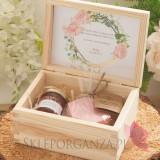 Prośba o świadkowanie 1 - zestaw upominkowy różany w szkatułce – NATURA - personalizacja kolekcja GEOMETRYCZNA GOLD RÓŻ KWIATY