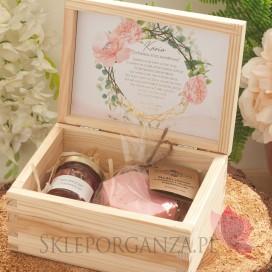 Prośba o świadkowanie 2 - zestaw upominkowy różany w szkatułce – NATURA - personalizacja kolekcja GEOMETRYCZNA GOLD RÓŻ KWIATY