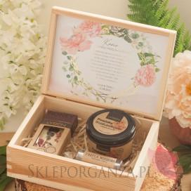 Prośba o świadkowanie - Zestaw upominkowy słodkości w szkatułce - NATURA - personalizacja kolekcja GEOMETRYCZNA GOLD RÓŻ KWIATY