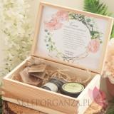 GEOMETRYCZNA GOLD RÓŻ KWIATY na ślub Prośba o świadkowanie - Zestaw upominkowy kosmetyki w szkatułce - NATURA - personalizacj...