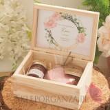Podziękowanie dla Świadkowej - zestaw różany w szkatułce - NATURA - personalizacja kolekcja GEOMETRYCZNA GOLD RÓŻ KWIATY