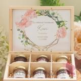 Podziękowanie dla Świadkowej - zestaw miodów - średni - personalizacja kolekcja ślubna GEOMETRYCZNA GOLD RÓŻ KWIATY