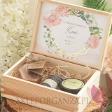 Podziękowanie dla Świadkowej - zestaw kosmetyki w szkatułce -NATURA- personalizacja kolekcja GEOMETRYCZNA GOLD RÓŻ KWIATY