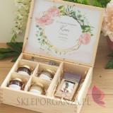 Podziękowanie dla Świadkowej - zestaw słodkości w szkatułce 1-NATURA- personalizacja kolekcja GEOMETRYCZNA GOLD RÓŻ KWIATY